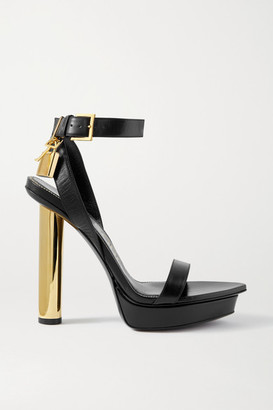 Tom Ford Padlock Leather Platform Sandals - Black