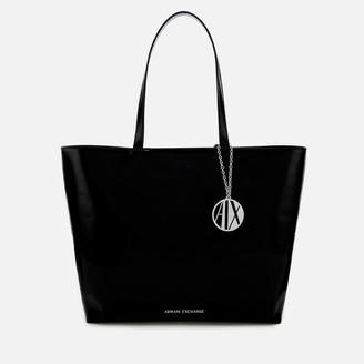 Armani Exchange Women's Patent Shopping Tote Bag - Black