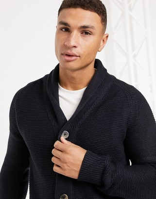 French Connection wool blend chunky cardigan in navy