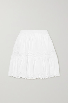 MICHAEL Michael Kors Crocheted Lace And Broderie Anglaise-trimmed Cotton Mini Skirt - White