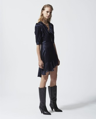 The Kooples Navy blue jacquard short frilly dress