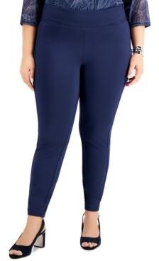 Alfani Plus Size Tummy-Control Side Zip Skinny Pants, Created for Macy's