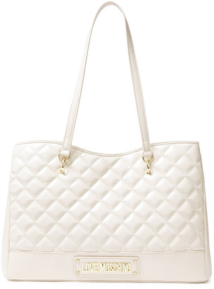 Love Moschino Logo-embellished Quilted Faux Leather Tote