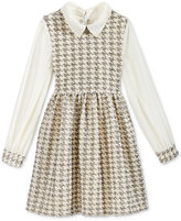 Bonnie Jean Girls' Sheer-Sleeve Houndstooth Dress