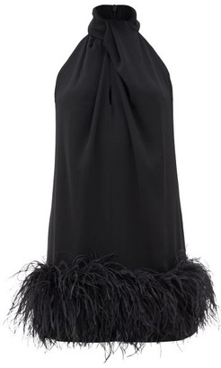 16Arlington Cynthia Feather-trimmed Crepe Dress - Black
