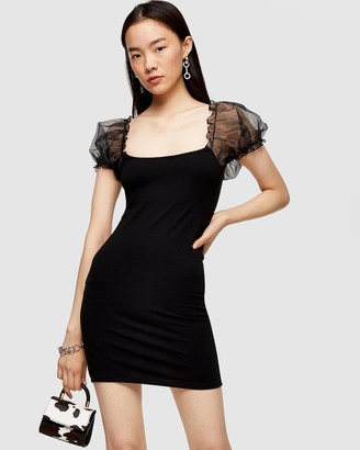 Topshop Organza Puff Sleeve Mini Dress