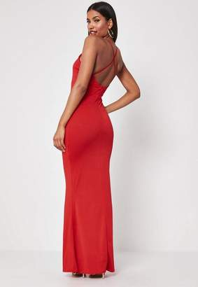 Missguided Red Cross Back High Neck Maxi Dress