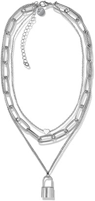 Opes Robur Silver Triple Layer Heart Chain