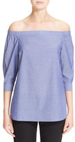 Theory Joscla Off-the-Shoulder Cotton Blouse