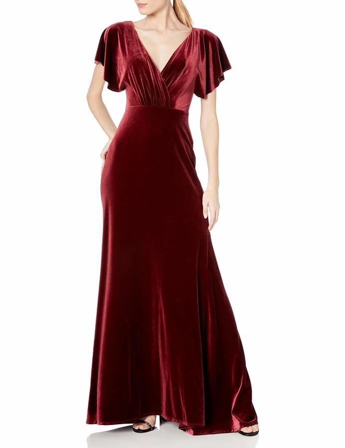 Jenny Yoo Women's Ellis Flutter Sleeve Open Back Long Velvet Gown