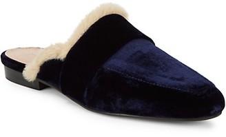 Pure Navy Noles Trimmed Faux Fur Velvet Mules