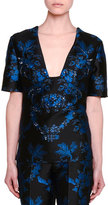 Stella McCartney Short-Sleeve Floral-Embellished Blouse, Black
