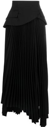 A.W.A.K.E. Mode Asymmetric Pleated Maxi Skirt
