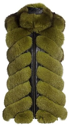 The Fur Salon Chevron Sectioned Fox Fur Leather-Trim Vest