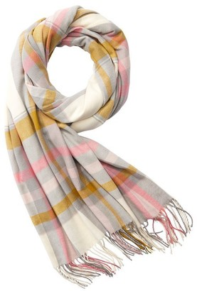Love & Lore Love And Lore Super Soft Scarf Tisse Plaid Ivory And Citron