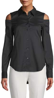 Donna Karan Cold-Shoulder Button-Down Shirt