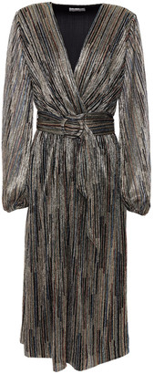 Rebecca Vallance Bellagio Wrap-effect Metallic Knitted Midi Dress