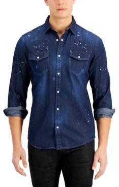 INC International Concepts Inc Men's Splatter Paint Denim Shirt, Created for Macy's