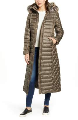 Gallery Long Packable Quilted Hooded Parka with Faux Fur Trim