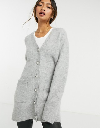And other stories & oversized cardigan with jewelled buttons in grey melange