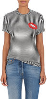 Sandrine Rose Women's Lips-Embroidered Striped Cotton-Blend T-Shirt