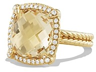 David Yurman Chatelaine Pave Bezel Ring with Champagne Citrine and Diamonds in 18K Gold