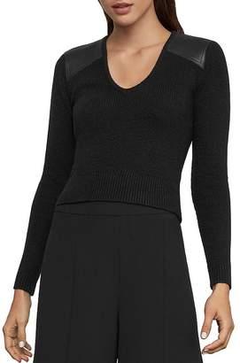 BCBGMAXAZRIA Faux-Leather-Patch Sweater