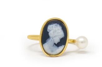 Vintouch Italy Black Mini Cameo & Pearl Ring