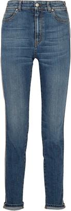 Alexander McQueen Striped High-rise Slim-leg Jeans