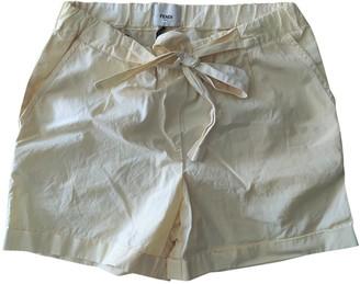 Fendi Yellow Cotton Shorts