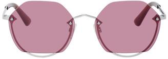 McQ Silver Swallow Round Semi-Rimless Sunglasses