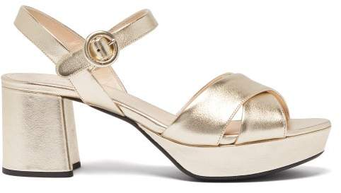 Metallic Sandals Leather Platform Womens Gold 35jL4cARq