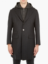 Neil Barrett Charcoal Double-Layer Wool Coat