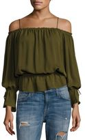 Love Sam Gathered Silk Cold-Shoulder Top