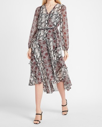 Express Snakeskin Ruffle Wrap Midi Dress