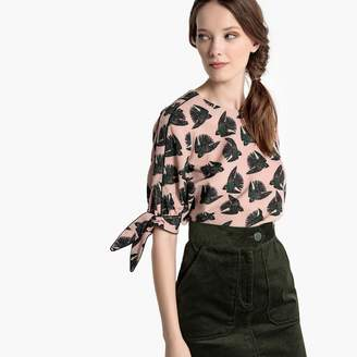 La Redoute Collections Tied-Sleeve Bird Print Blouse