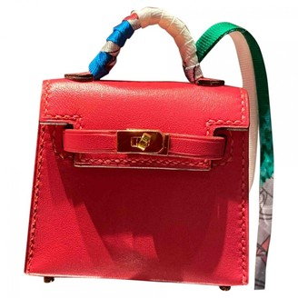 Hermes Kelly twilly charm Pink Leather Bag charms