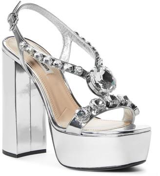 Miu Miu Crystal Embellished Slingback Platform Sandal