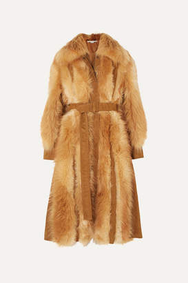 Stella McCartney Faux Suede-trimmed Faux Fur Coat - Light brown