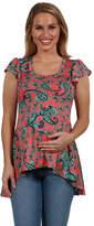 24/7 Comfort Apparel 24Seven Comfort Apparel Scout Hi Lo Pink Print Maternity Tunic Top