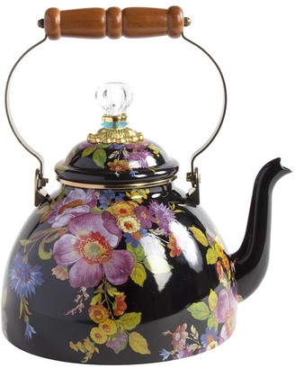 Mackenzie Childs MacKenzie-Childs - Flower Market Enamel Tea Kettle - Black - Small