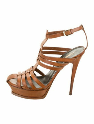 Saint Laurent Leather Gladiator Sandals Brown