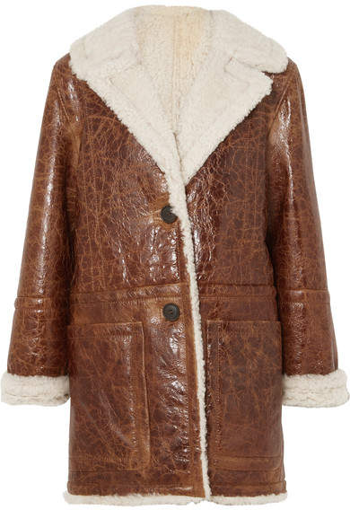 Yves Salomon Cracked Glossed-shearling Coat - Brown