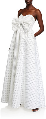 Mestiza New York Polka-Dot Empire Bow Puff Strapless Gown