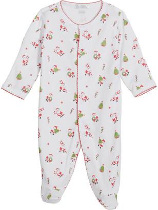 Kissy Kissy Girl's Santa Claus Printed Footie Pajamas, Size Newborn-9M