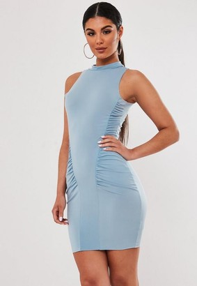 Missguided Blue High Neck Ruched Sleeveless Mini Dress
