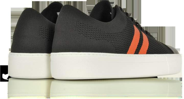 Neil Barrett Chocolate/Orange Perforated Fabric and Nappa Leather Skateboard Sneakers