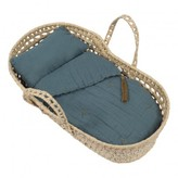 Numero 74 Doll's Bassinet, Mattress and Linen - Dusty Blue