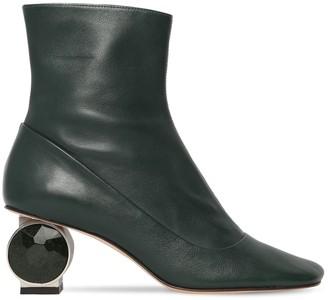 Loewe 55mm Crystal Heel Leather Ankle Boots