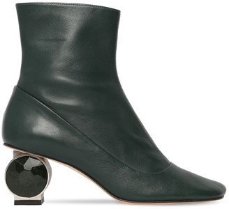 Loewe 55mm Crystal Heel Leather Ankle Boots
